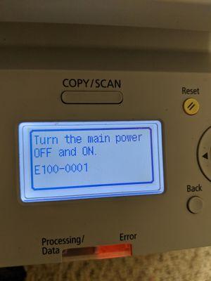Canon Printer Error Message
