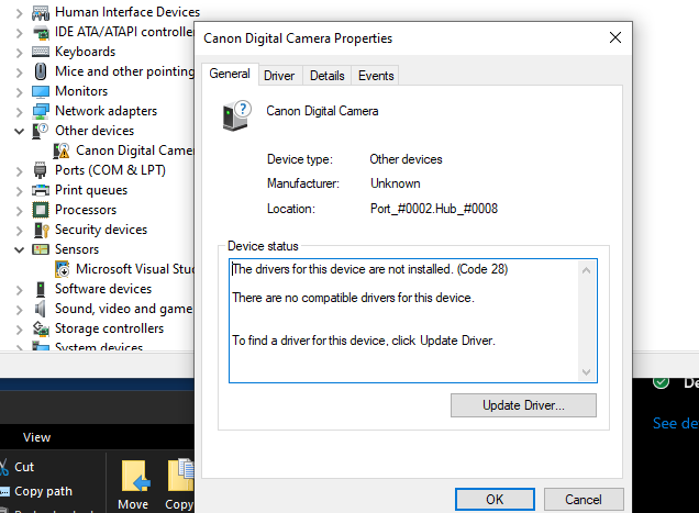 Canon_driver_failed Windows 10 update