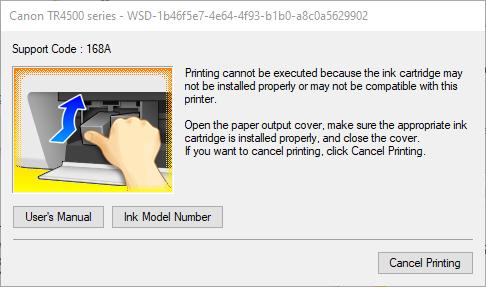 printer cartridge support code 168A ink model number.png