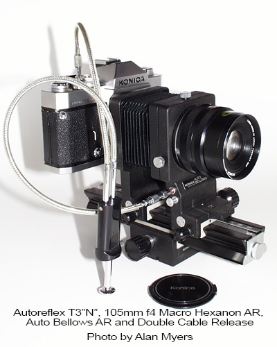 Konica T3 with macro bellows and 105/4 Hexanon