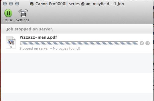 Pixma 9000 Mark II Mac error