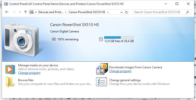 Canon camera device