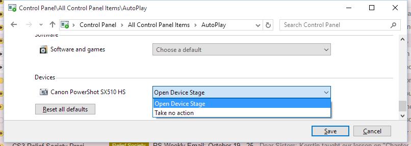 AutoPlay settings