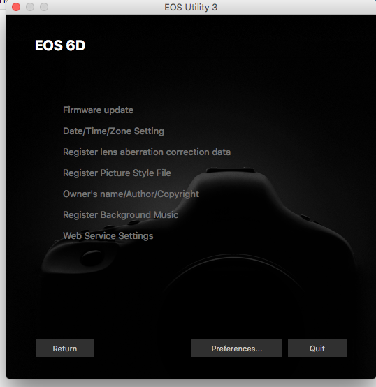 Screen Shot EOS Utility Gray Settings