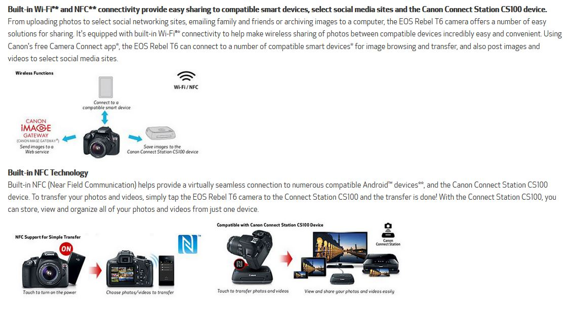 Moving pictures wirelessly with Rebel T6 cameras
