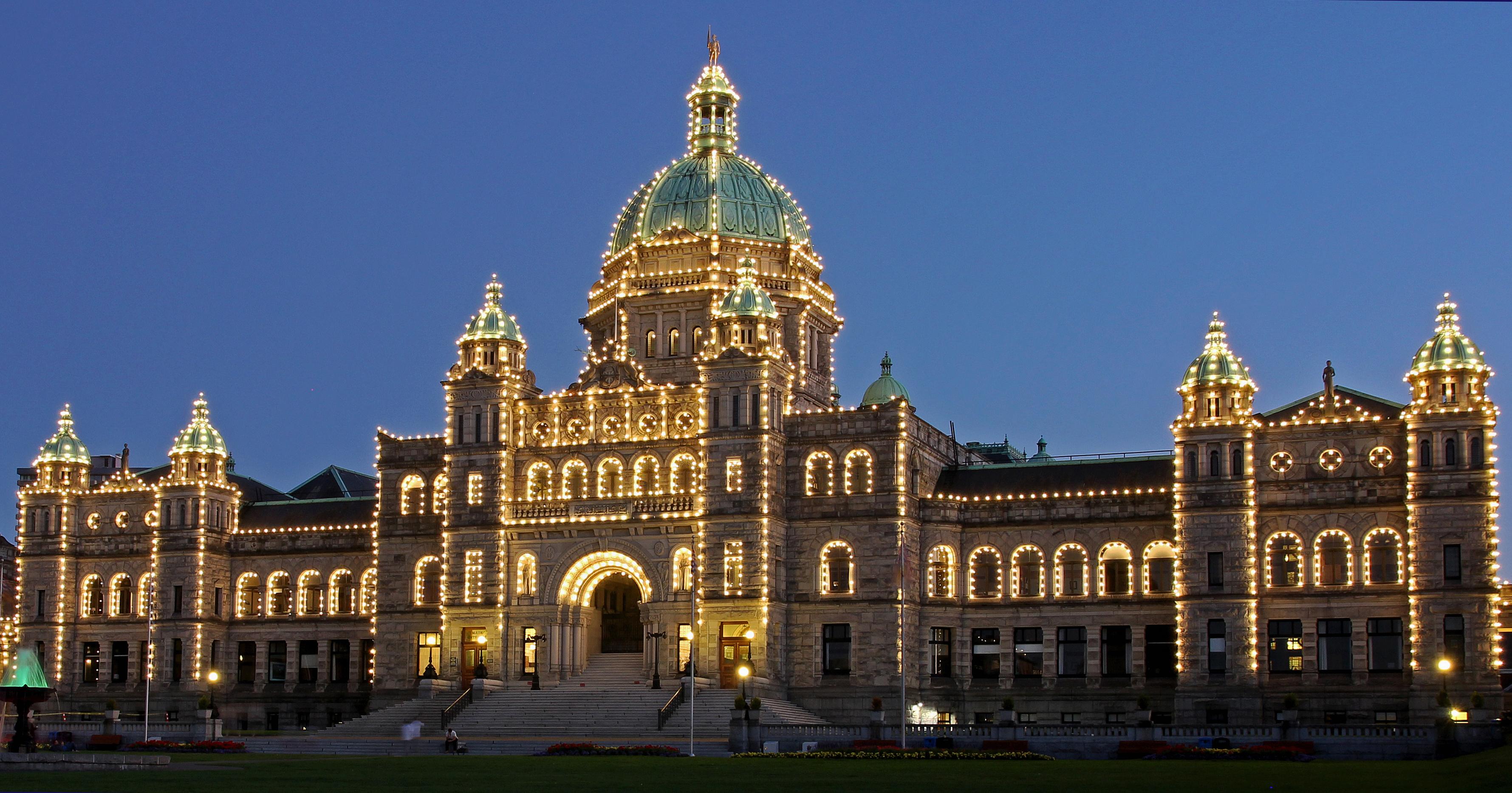 Canada BC Victoria Legislature at Dusk.jpg
