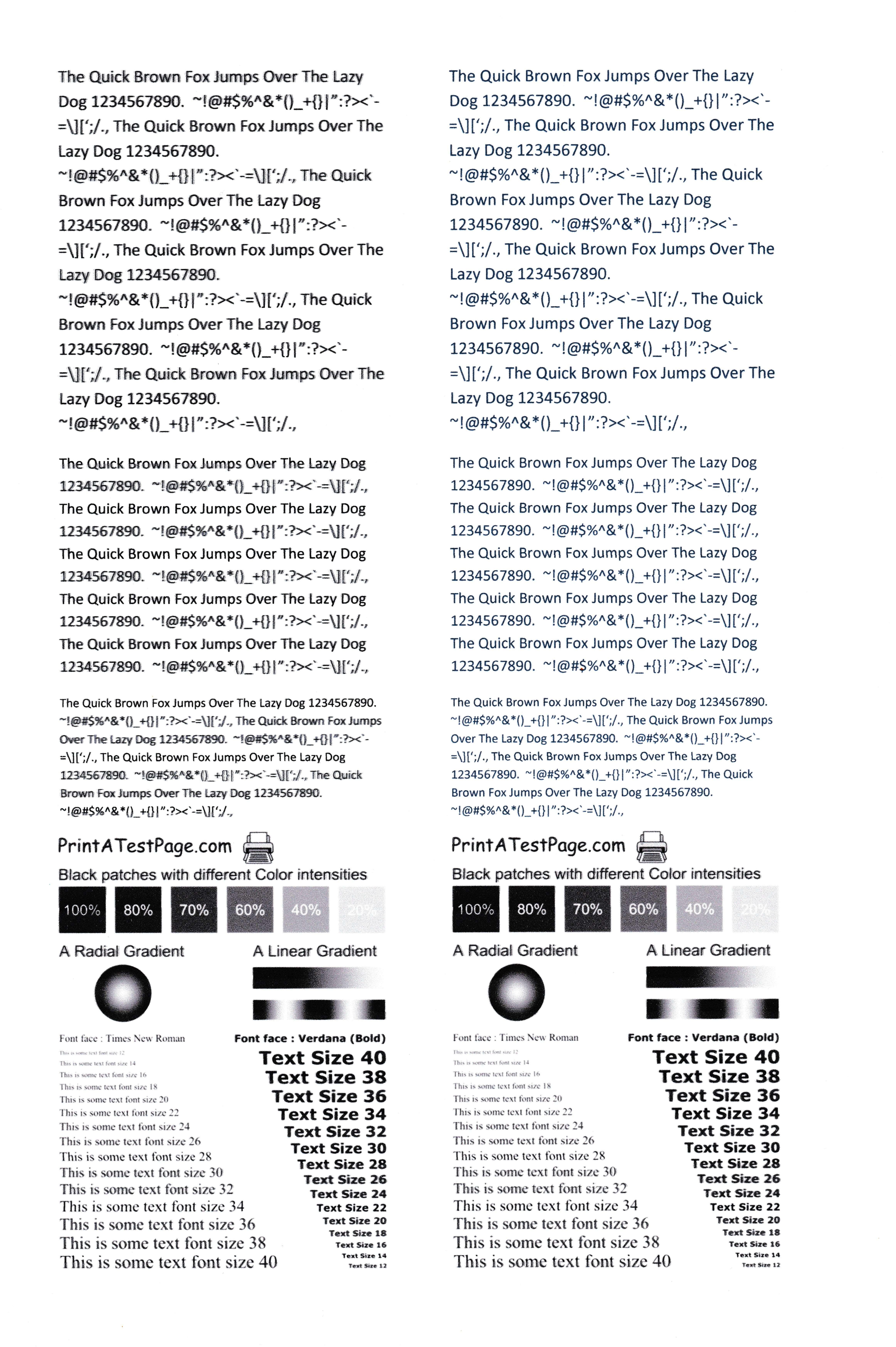 Test Page Printout