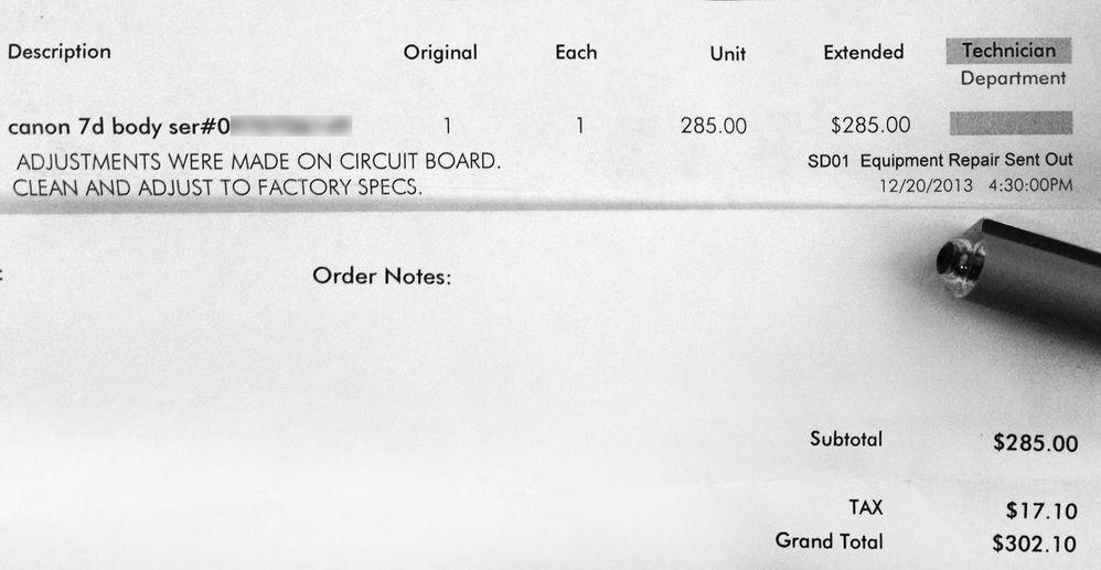 Canon Repair Invoice - 12/7