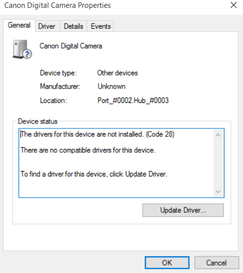 Canon camero driver issue 2.PNG